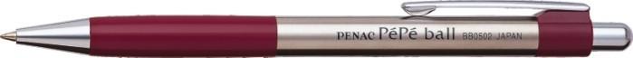 Pix metalic PENAC Pepe, rubber grip, 0.7mm, accesorii bordeaux - scriere albastra