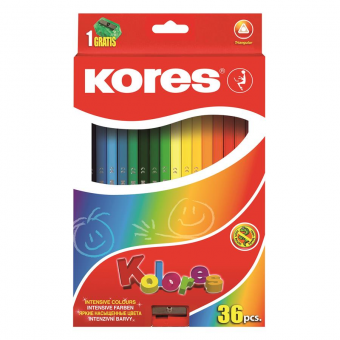 Creioane Colorate 36 Culori cu Ascutitoare Triunghiulare Kores