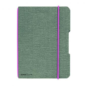 CAIET MY.BOOK FLEX A5 40 FILE PATRATELE COPERTA DIN PANZA GRI ELASTIC ROZ