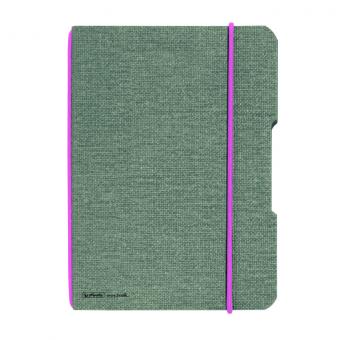 CAIET MY.BOOK FLEX A4 40 FILE PATRATELE PERFORAT COPERTA DIN PANZA GRI ELASTIC ROZ
