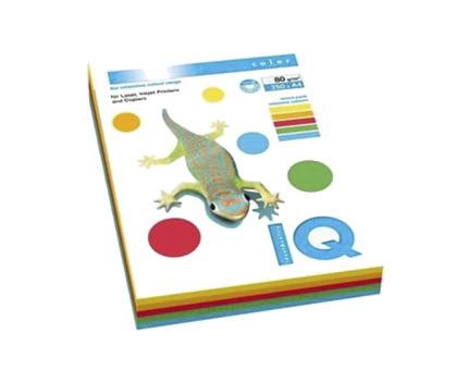 HARTIE COLOR IQ MIX RAINBOW 5x50 coli A4, 80 g/mp, culori intense