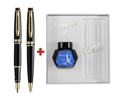 SET WATERMAN EXPERT STILOU+PIX ESSENTIAL BLACK LAQUER GT +CUTIE PT. CADOU Event - Ink Bottle