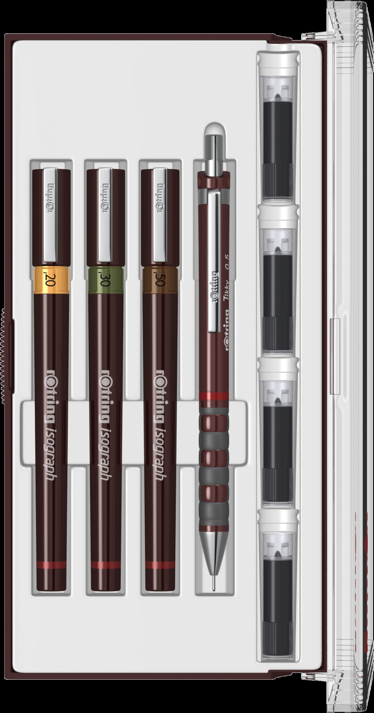 TRUSA ROTRING ISOGRAPH CU 3 TOCURI JUNIOR (0.20/ 0.30/ 0.50 mm)