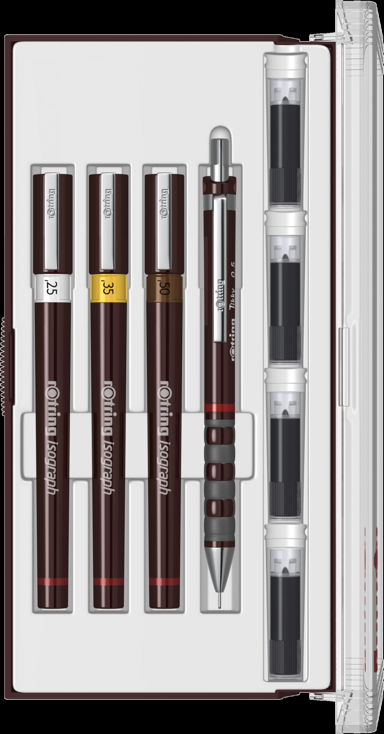 TRUSA ROTRING ISOGRAPH CU 3 TOCURI, JUNIOR (0.25/ 0.35/ 0.50 mm)