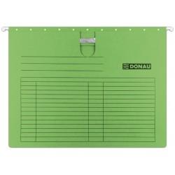 Dosar suspendabil cu sina, carton 230g/mp, bagheta metalica, 5 buc/set, DONAU - verde