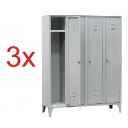 3x VESTIAR METALIC CU PICIOARE SI 4 USI 116/04, 1200x500x1800 mm (LxlxH), Italia
