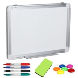 TABLA ALBA MAGNETICA 90x60 cm rama aluminiu, +Plus Office+CADOU! (Set 4 markere+burete+magneti)