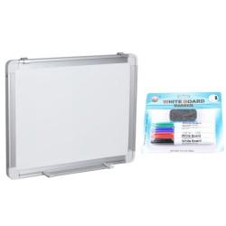 TABLA ALBA MAGNETICA 90x120 cm rama aluminiu, +Plus Office+CADOU! (Set 4 markere+burete)