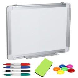 TABLA ALBA MAGNETICA 150x90 cm rama aluminiu, +Plus Office+CADOU! (Set 4 markere+burete+magneti)