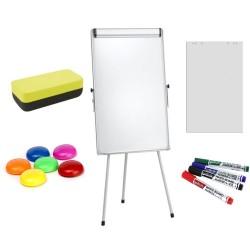 Flipchart magnetic +Plus Office 70x100 cm + hartie flipchart, markere, burete, magneti