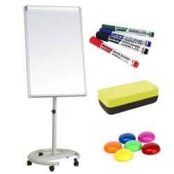 Flipchart magnetic mobil 70x100 cm cu brate laterale +Plus Office + markere, burete, magneti