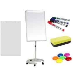 Flipchart magnetic mobil 70x100 cm cu brate laterale +Plus Office + hartie flipchart, markere, burete, magneti