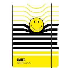 CAIET MY.BOOK FLEX A5 40F PATRATELE, COPERTA SMILEY BLACK YELLOW STRIPES, ELASTIC NEGRU