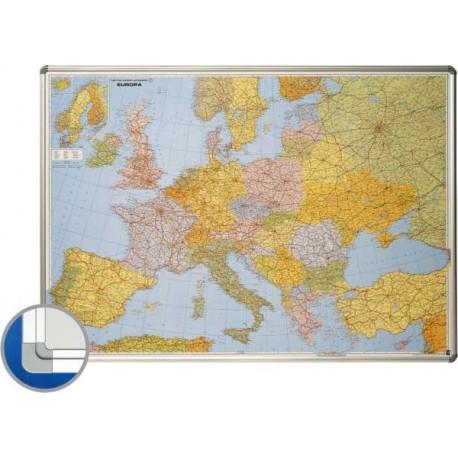 Harta Europei (rutiera+administrativa) 85 x 125 cm, profil aluminiu SL, SMIT