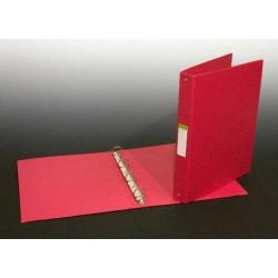 Caiet mecanic 4 inele - D25mm, coperti carton plastifiat PVC, A4, AURORA - rosu