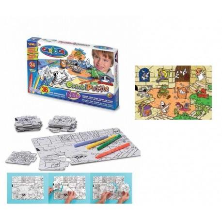 Puzzle de colorat, 36 piese + 24 carioca lavabile, CARIOCA Monsters