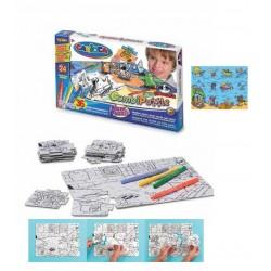 Puzzle de colorat, 36 piese + 24 carioca lavabile, CARIOCA Surf