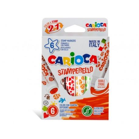 Set 6 markere cu 6 stampile, diverse forme, cutie carton, CARIOCA