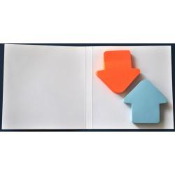 Notes autoadeziv ( 2 set x 100 file ) forma sageata bleu-orange 70 x 70 mm pe suport carton
