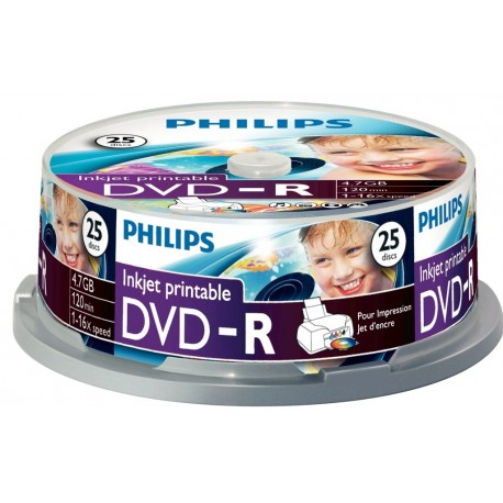 DVD-R 4.7GB (25 buc. Spindle, 16x), printabil, PHILIPS
