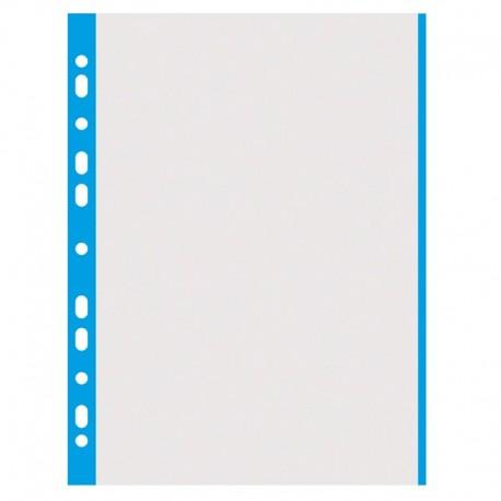 Folie protectie cu margine color, 40 microni, 100folii/set, DONAU - margine albastra