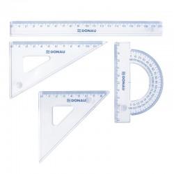 Set geometrie mic, contine: rigla 20cm, raportor, echer 10.5cm si echer 15cm, DONAU - transparent