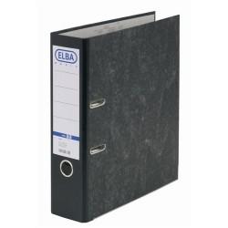 Biblioraft A4, margine metalica, 80mm, ELBA Smart - marmorat cu cotor negru
