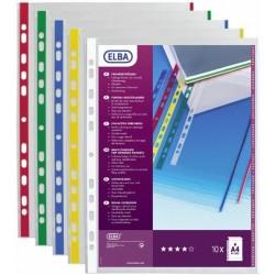 Folie protectie documente, cu margine color, 10folii/set, ELBA - margine rosie