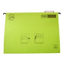 Dosar suspendabil cu eticheta, bagheta metalica, carton 330g/mp, ELBA Verticflex Ultimate - verde