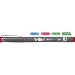 Marker pentru desen tehnic ARTLINE, varf fetru 0.1mm - rosu