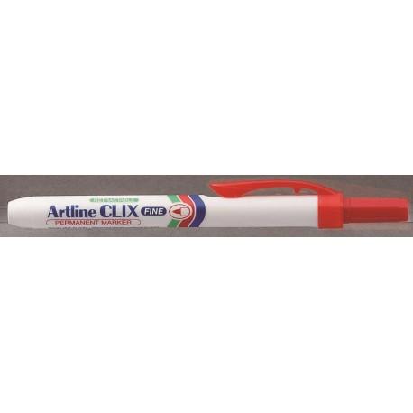 Permanent marker ARTLINE Clix 703, corp plastic, mecanism retractabil, varf rotund - rosu