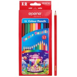 Creioane colorate, corp hexagonal, 12 culori/set, EPENE