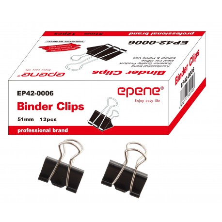 Clip hartie 41mm, 12buc/cutie, EPENE - negru