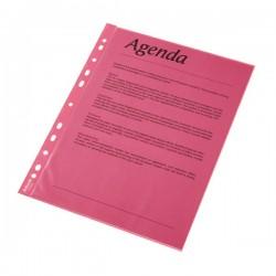 Folie protectie color pentru documente, 10folii/set, ESSELTE - rosu transparent