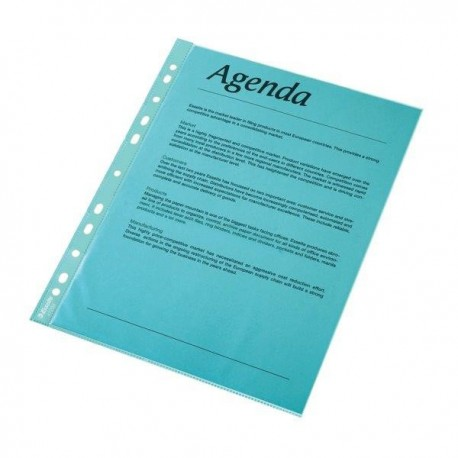 Folie protectie color pentru documente, 10folii/set, ESSELTE - albastru transparent