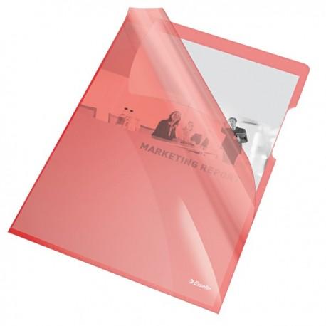 """Mapa """"L"""" pentru documente A4, 150 microni, 25/set, ESSELTE - rosu transparent"""