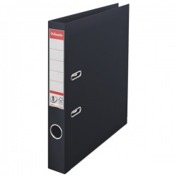 Biblioraft A4, plastifiat PP/PP, margine metalica, 50 mm, ESSELTE No. 1 Power - negru vivida