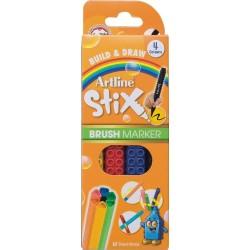 Marker pentru colorat ARTLINE Stix, varf flexibil (tip pensula), lavabil, 4 buc/set