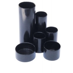 Suport plastic multitub pt, instrumente de scris - Negru