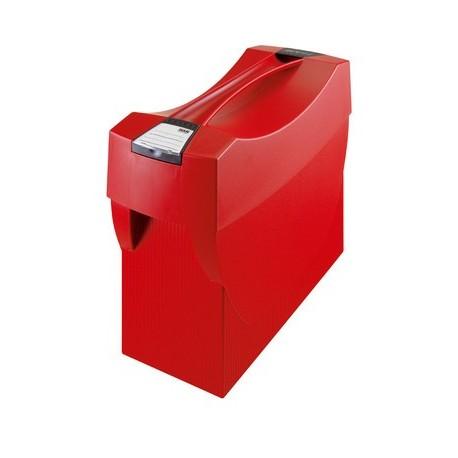 Suport plastic pentru 20 dosare suspendabile, cu capac, HAN Swing Plus - rosu
