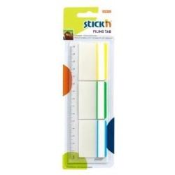 "Stick index plastic transp. cu margine color 37 x 50 mm, 3 x 10file/set, Stick""n - 3 culori neon/alb"
