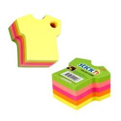 """Notes autoadeziv Die-Cut - tricou, 70 x 70 mm, 400 file, Stick""""n - 5 culori fluorescente"""