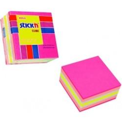 "Cub notes autoadeziv 51 x 51 mm, 250 file, Stick""n - neon/pastel asortate"