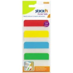 "Stick index plastic transp. cu margine color 38 x 51 mm, 4 x 20 file/set, Stick""n - 4 culori neon"