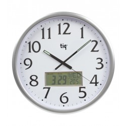 Ceas rotund de perete, D-360mm, cifre arabe + afisaj-data/zi/temperatura, TIQ -rama plastic argintie