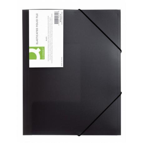 Mapa plastic cu elastic pe colturi, 400 microni, Q-Connect - negru transparent