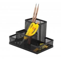 Organizer metalic Mesh, de birou, 4 compartimente, Q-Connect - negru