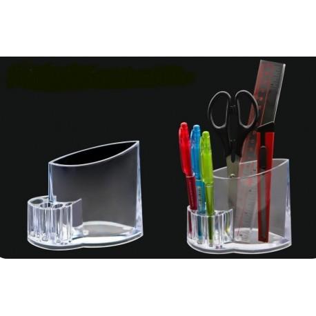 Suport plastic pentru accesorii de birou, 5 compartimente, KEJEA - transparent cristal