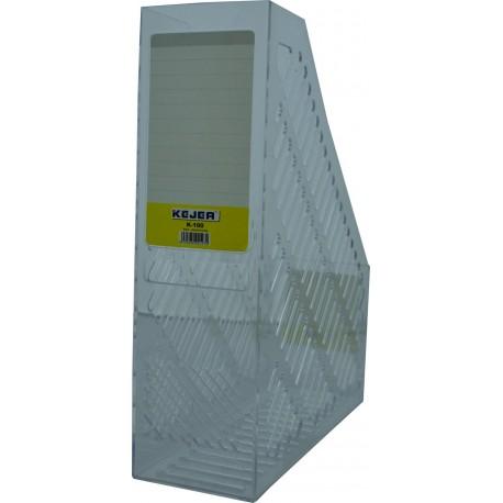 Suport vertical plastic pentru cataloage, 75mm, KEJEA - transparent cristal