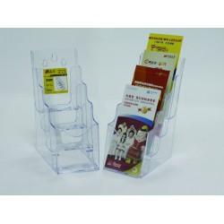 Display plastic pentru brosuri, de birou/perete, 4 x 1/3A4, KEJEA - transparent